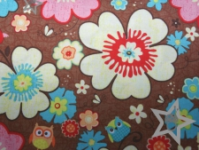 Riley Blake - Happy Flappers Flowers brown - Reststück a 1 m